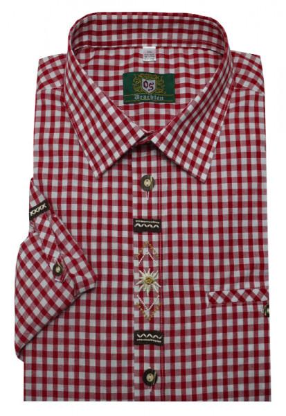 Orbis Trachtenhemd rot weiß mit Stickerei Krempelarm OS-0362 Regular Fit