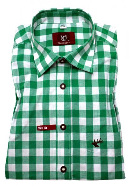 Slim Fit Trachtenhemd von Orbis mit Kentkragen grün-weiss Baumwollmischung