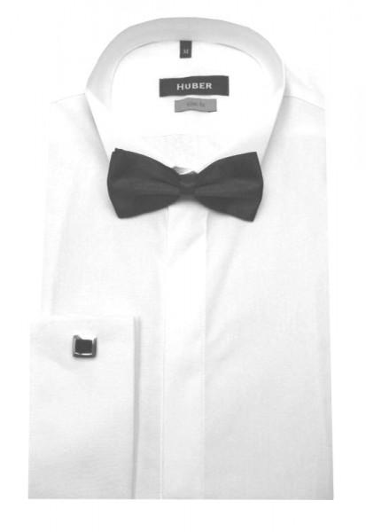 HUBER Smoking Hemd weiß inkl. Fliege schwarz HU-1351 Slim Fit