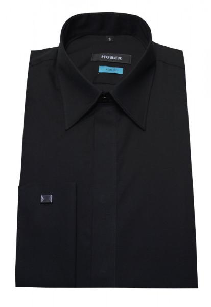 Umschlag-Manschetten Hemd schwarz Slim Fit von HUBER