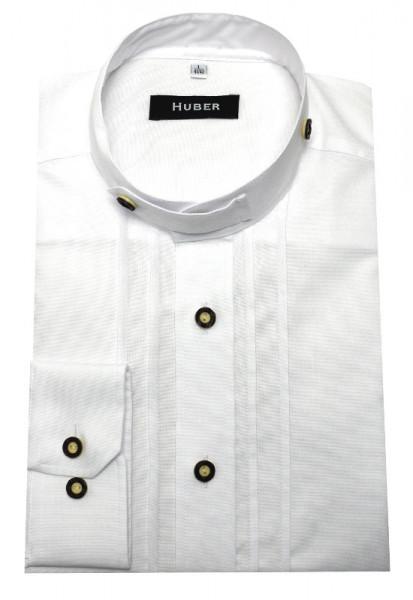HUBER Trachten Hemd Stehkragen weiß HU-0705 Comfort