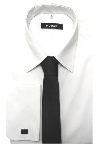 HUBER Umschlag-Manschetten Hemd weiß inkl.Krawatte schwarz HU-5011 Regular