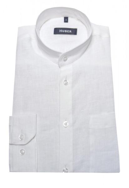 Stehkragen Leinen Hemd weiss von HUBER