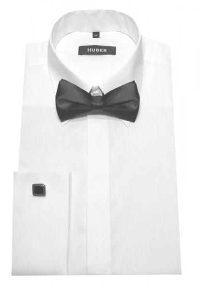HUBER Umschlag-Manschetten Hemd weiß +Fliege HU-1011 Regular