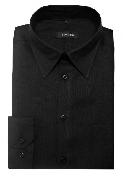 HUBER Hemd schwarz 100% Leinen nachhaltig HU-0060 Regular