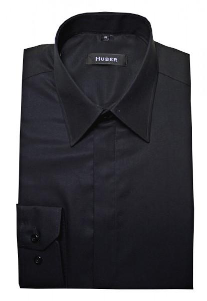 Festliches Hemd schwarz verdeckte Knopfleiste von HUBER