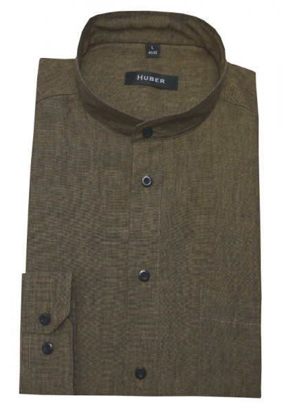 HUBER Stehkragen Hemd Leinen braun/olive meliert HU-0419 Regular