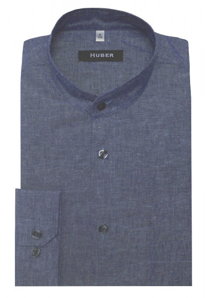 HUBER Stehkragen Leinen Hemd marine blau Halbleinen HU-0437 Regular