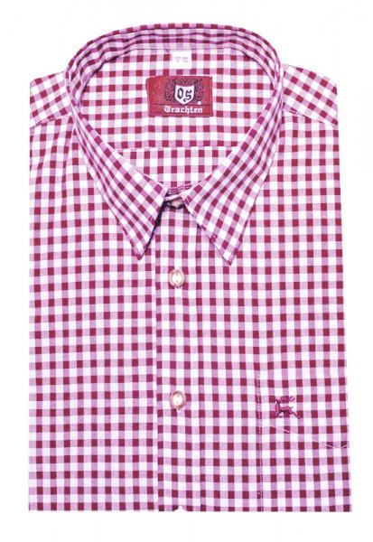 Orbis Trachten Hemd pink rotton weiß Langarm Kent OS-0070 Regular Fit