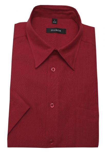 Leinen Hemd rot Kurzarm von HUBER Kentkragen
