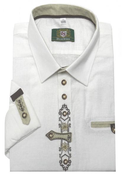 Orbis Trachtenhemd weiß mit Stickerei Krempelarm Regular Fit OS-0250