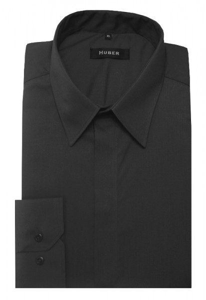 HUBER Festliches Hemd grau verdeckte Leiste HU-0083 Regular