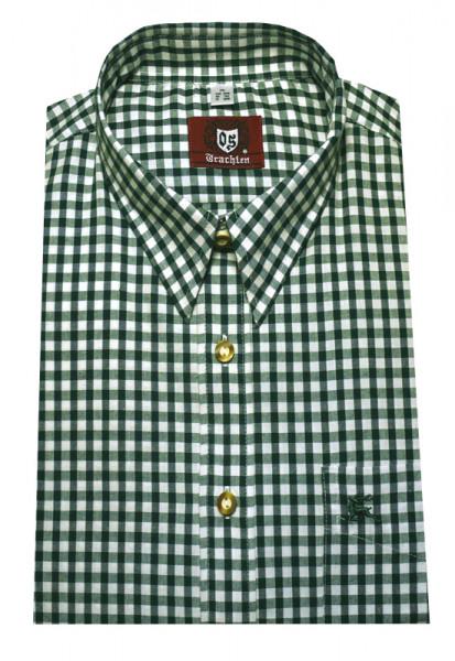 Orbis Trachten Hemd khaki weiß kariert Langarm OS-0067 Regular Fit