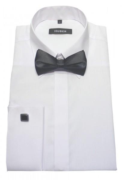 Umschlag-Manschetten Hemd weiß von HUBER mit Fliege