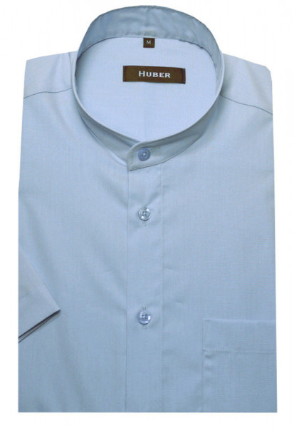 HUBER Stehkragen Hemd blau Kurzarm 100% Baumwolle bügelleicht HU-0127 Regular