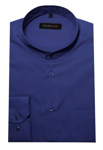 Stehkragen Hemd royal-blau bügelleicht BP-0038 Regular