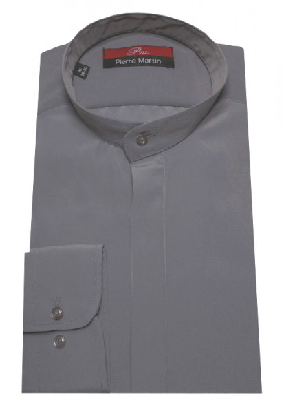 Stehkragen Hemd grau verdeckte Leiste DP-0018 Regular Fit