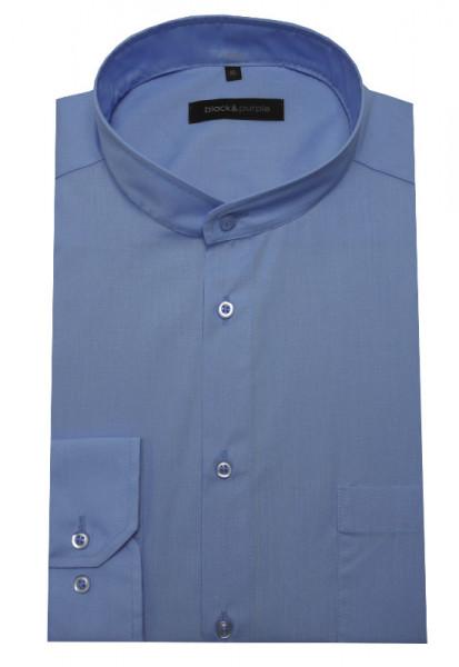 Stehkragen Hemd blau bügelleicht BP-0019 Regular Fit