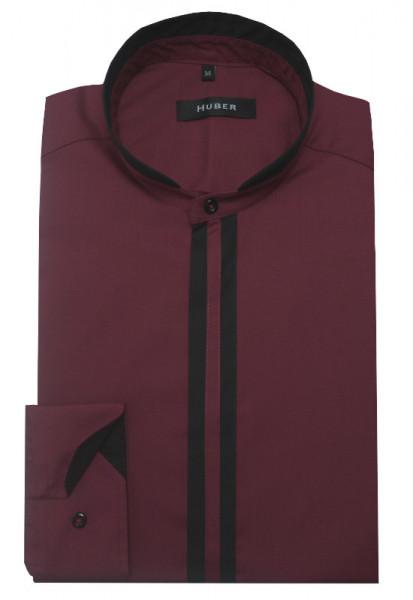 HUBER Stehkragen Hemd weinrot-schwarz HU-0084 Regular