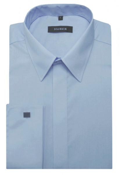 HUBER Umschlag-Manschetten Hemd blau hellblau HU-0018 Regular