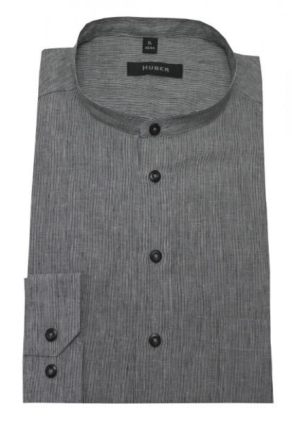 Stehkragen Leinen Schlupf-Hemd grau-weiß gestreift von HUBER