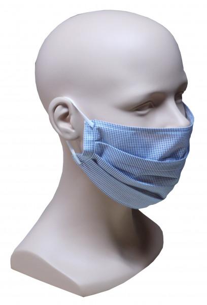 Gesicht Mund Nase Maske blau weiß feiner Stoff Sommer 1-lagig waschbar HU-7110