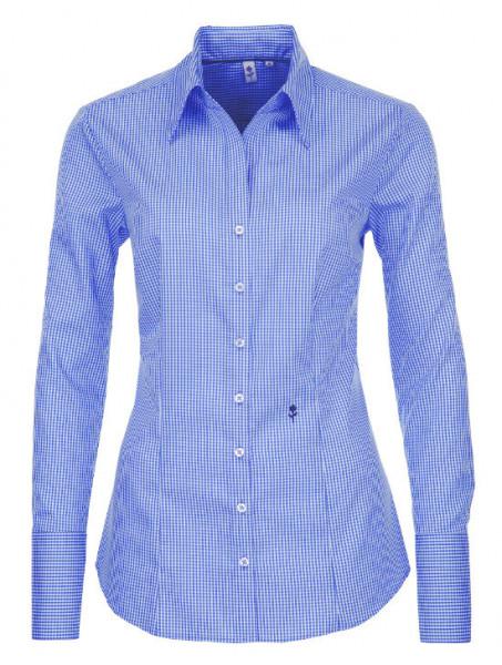 Damen Bluse blau weiß kariert Seidensticker Slim Line bügelfrei