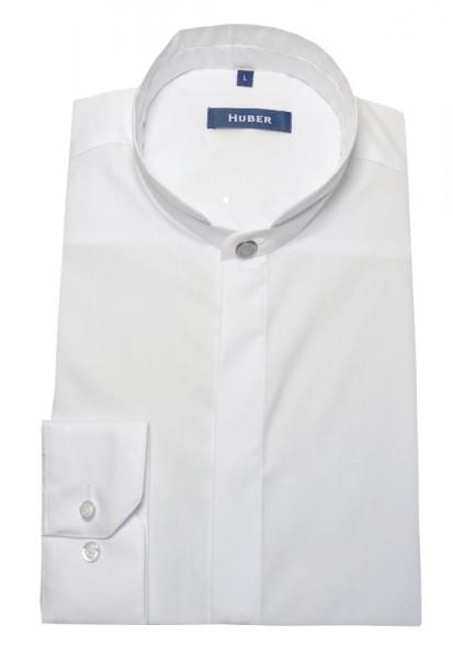 Stehkragen Hemd weiß von HUBER mit Zier-Knopf am Kragen