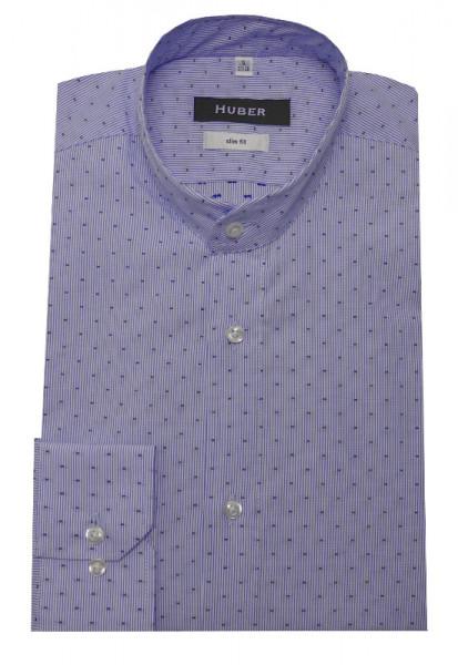 HUBER Stehkragen Hemd weiß blau gestreift HU-0384 Slim Fit