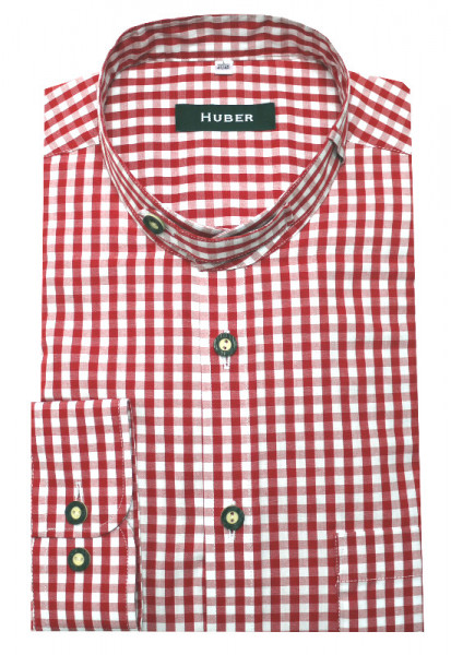 HUBER Trachten Hemd Stehkragen rot Krempelarm HU-0722 Regular
