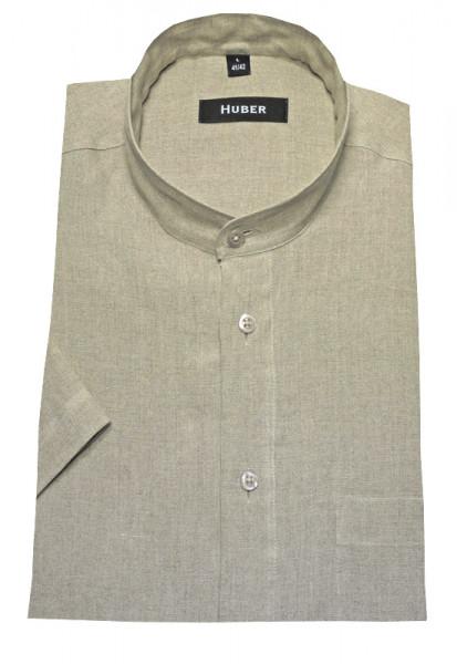 HUBER Stehkragen Leinen Hemd beige natur Kurzarm HU-0117