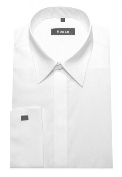 HUBER Umschlag-Manschetten Hemd weiß verdeckte Leiste HU-0011 Regular