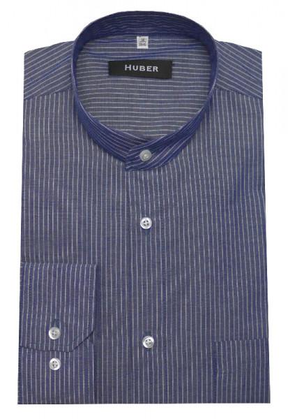 HUBER Stehkragen Hemd blau gestreift HU-0160 Regular