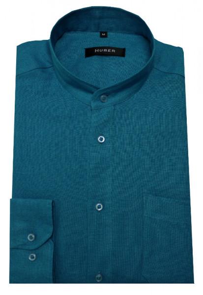 Leinenhemd von HUBER Stehkragen türkis cyan blauton
