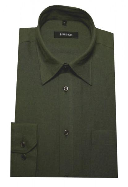 Leinen Hemd oliv grün von HUBER Kent Kragen
