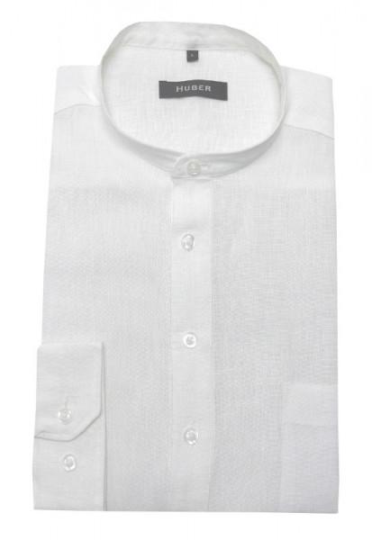 Stehkragen Leinen Schlupf-Hemd weiß von HUBER