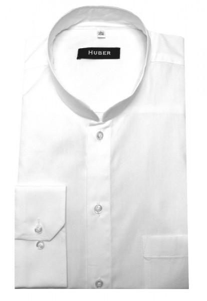Stehkragen Hemd weiß von HUBER Asia-Kragen normale Knopfleiste