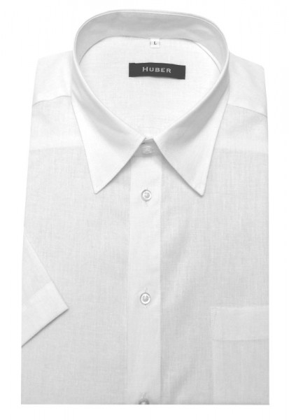 HUBER Kurzarm Hemd Leinen weiß HU-0140 Regular Fit