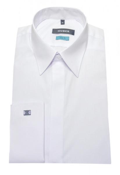 Umschlag-Manschetten Hemd weiß Slim Fit von HUBER