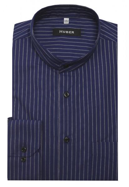 HUBER Stehkragen Hemd dunkelblau weiß gestreift HU-0161 Regular Fit