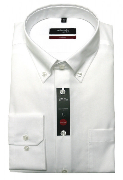 Seidensticker Hemd weiß Button-down Kragen bügelfrei SP-0090 Modern Fit