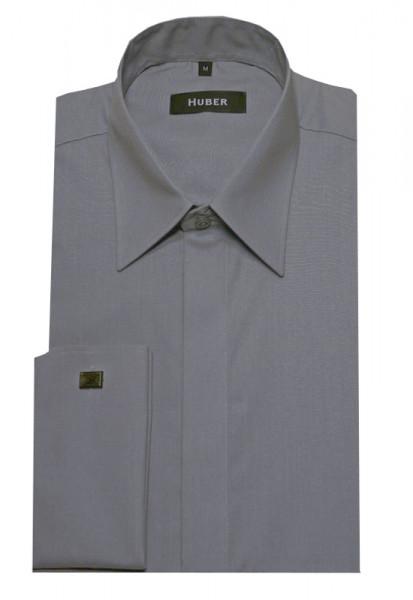HUBER Umschlag-Manschetten Hemd grau HU-0014 Regular