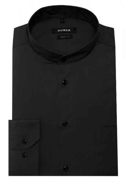 HUBER Stehkragen Hemd schwarz bügelleicht HU-0651 Regular Fit