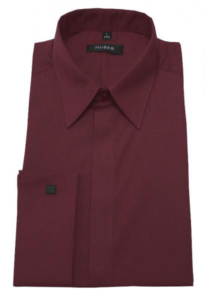 Umschlag-Manschetten Hemd rot weinrot von HUBER verdeckte Knopfleiste