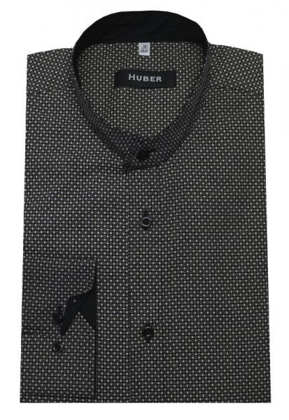 HUBER Stehkragen Hemd schwarz-beige HU-0155 Regular
