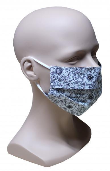 5 Stück im SET Premium Mund Nase Maske feiner Stoff 2-lagig HU-7003