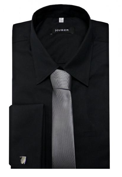 HUBER Hemd Umschlagmanschetten schwarz mit Krawatte HU-5012 Regular