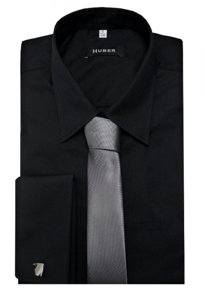 HUBER Hemd Umschlagmanschetten schwarz inkl. Krawatte + Man.knöpfe HU-5012 Regular