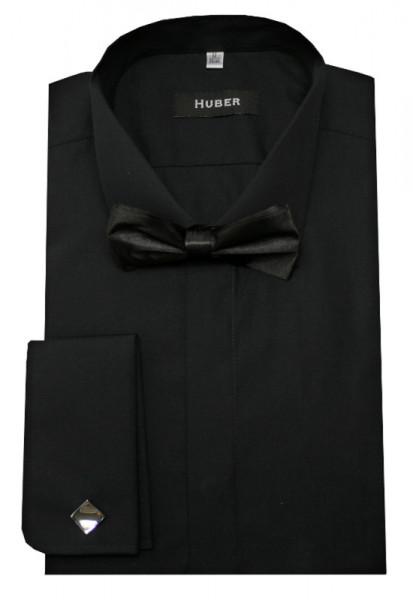 HUBER Smokinghemd schwarz inkl. Fliege schwarz HU-3022 Regular Fit