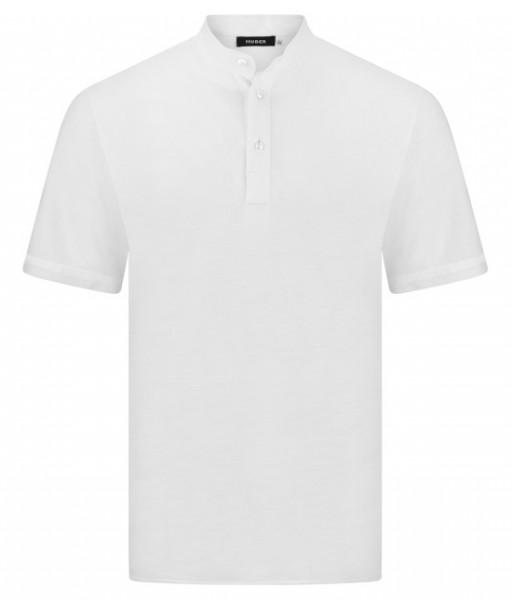 HUBER Poloshirt Stehkragen Kurzarm weiß 100% Baumwolle HU-0201 Regular/Comfort Fit